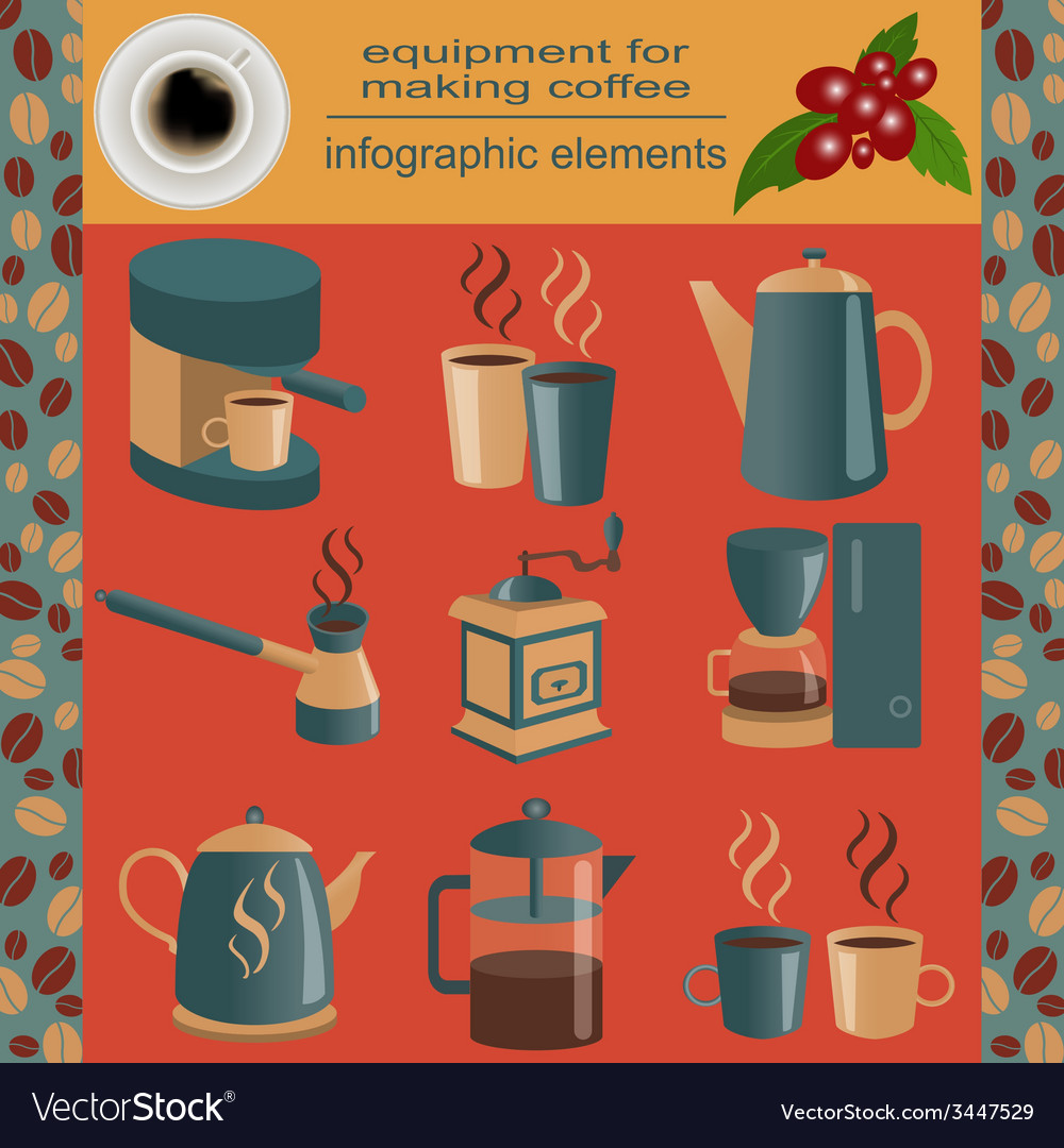 Equipment for making coffee set infographics vector | Price: 1 Credit (USD $1)