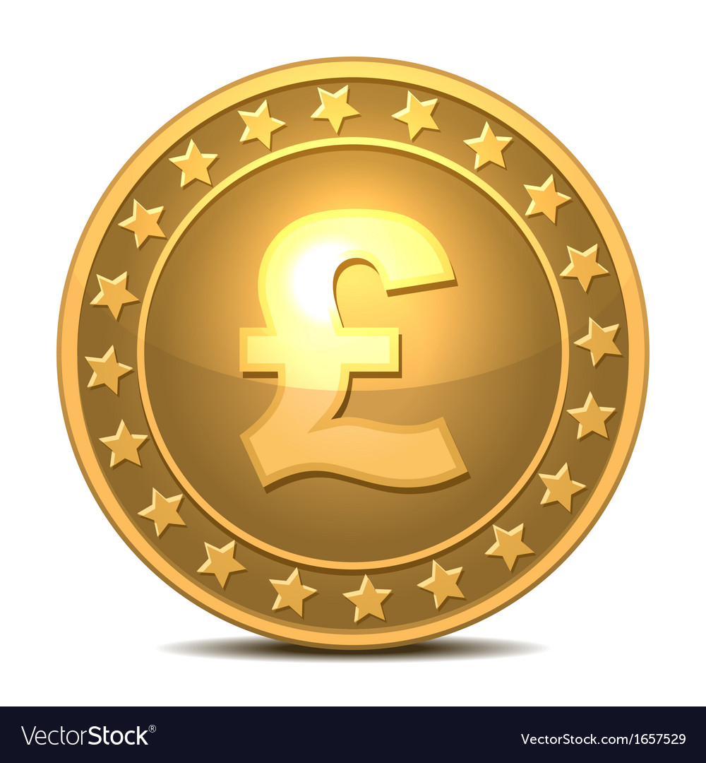 Gold coin with pound sterling sign vector | Price: 1 Credit (USD $1)