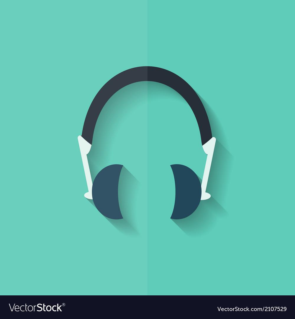 Headphones icon musical accessory flat design vector | Price: 1 Credit (USD $1)