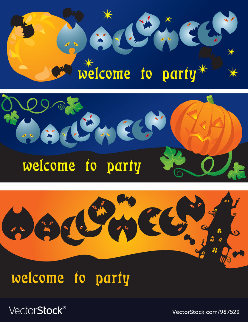 Invitation cards to halloween party vector | Price: 1 Credit (USD $1)