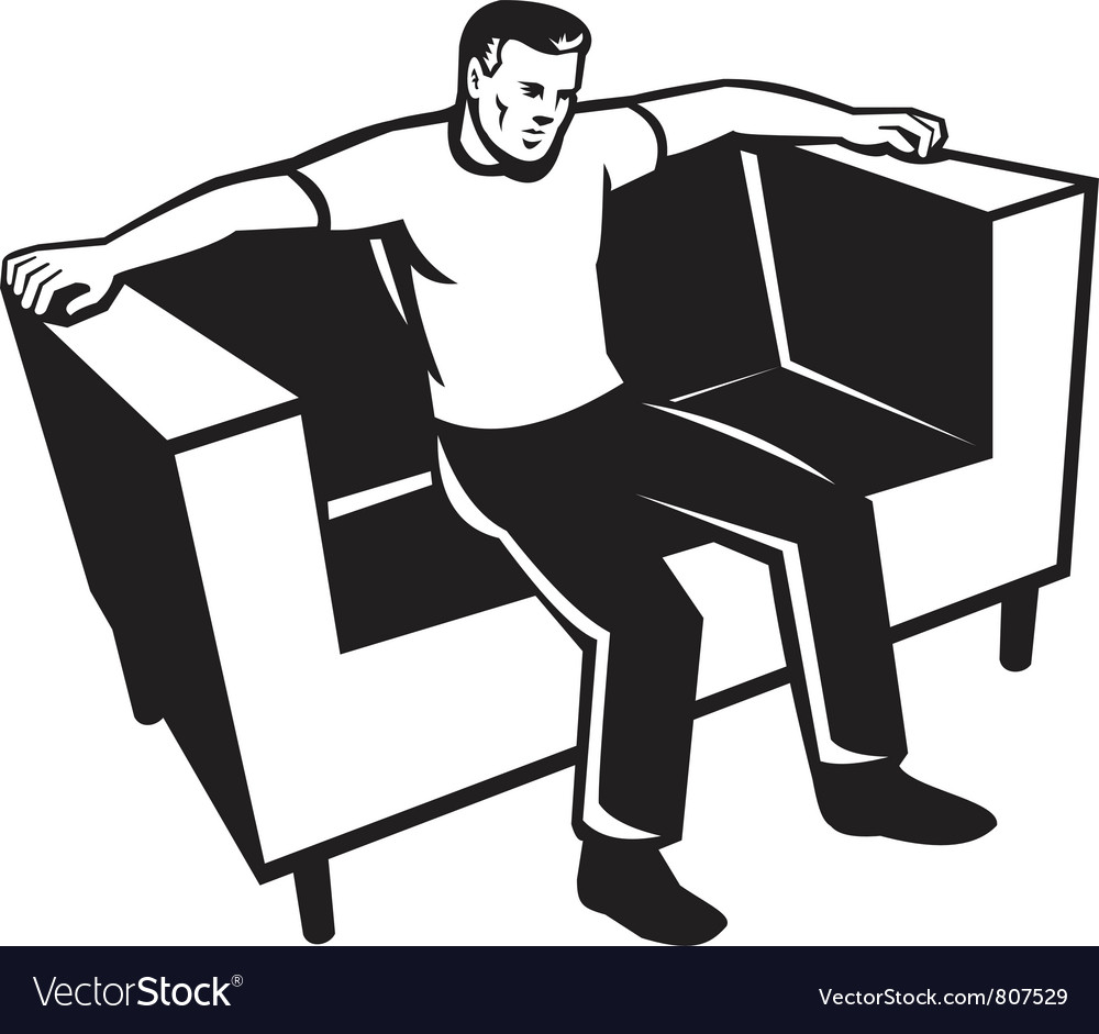Man sitting on couch chair vector | Price: 1 Credit (USD $1)