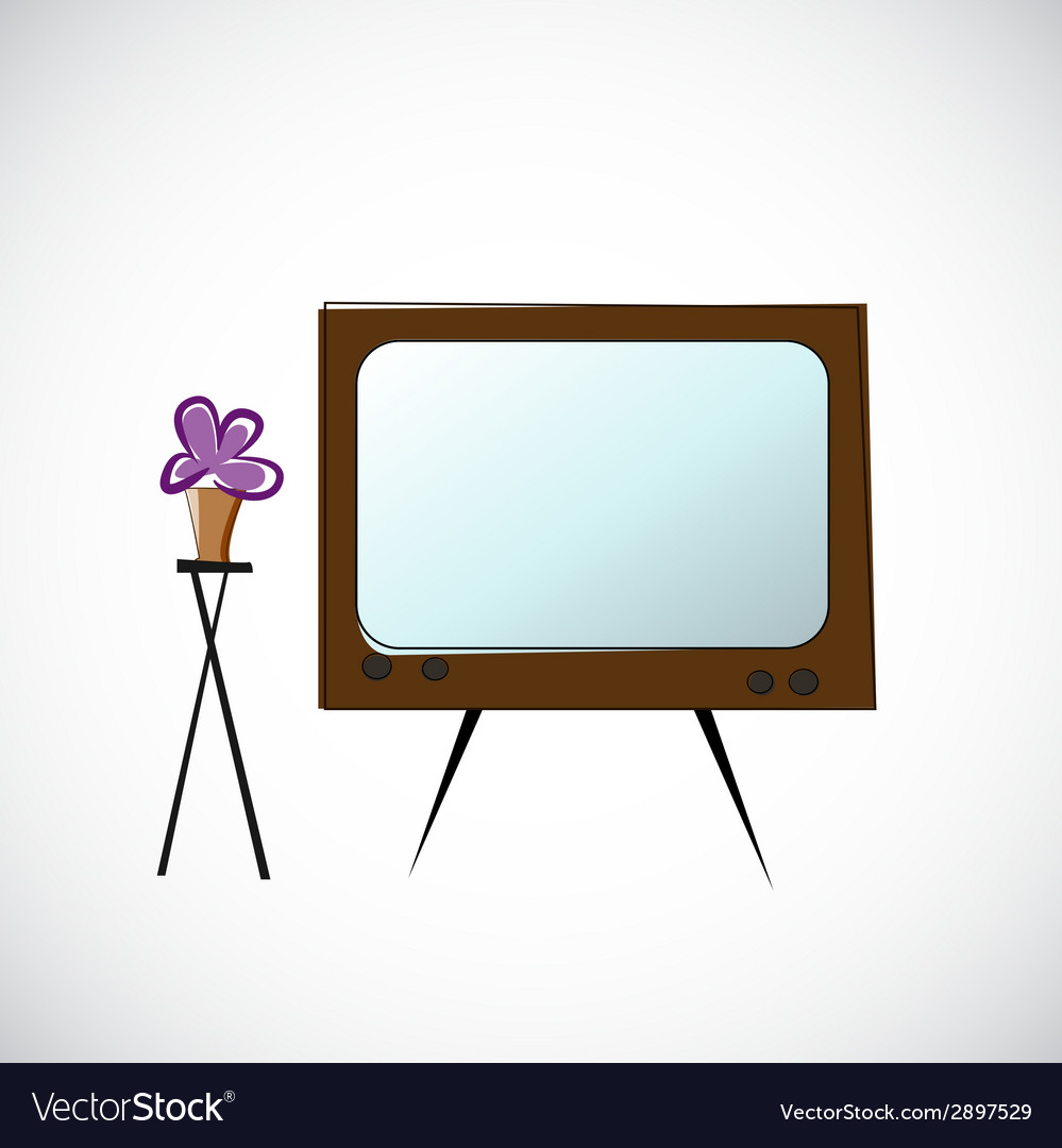 Old tv and flowers in a pot vector | Price: 1 Credit (USD $1)