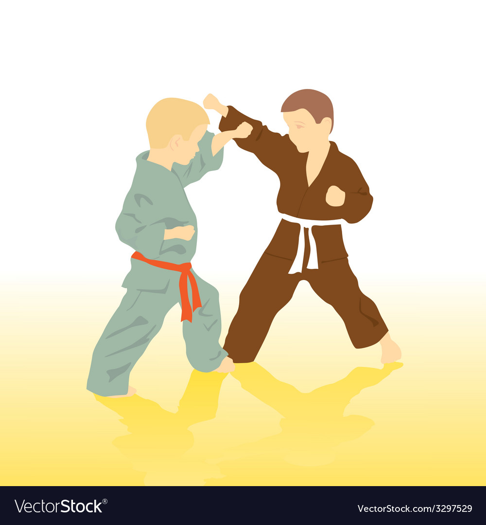 Two boys are engaged in karate vector | Price: 1 Credit (USD $1)