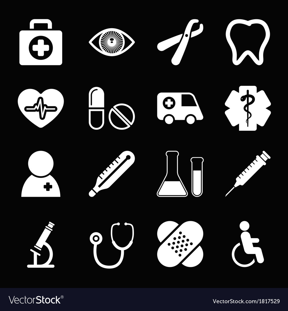 White medical icons set vector | Price: 1 Credit (USD $1)