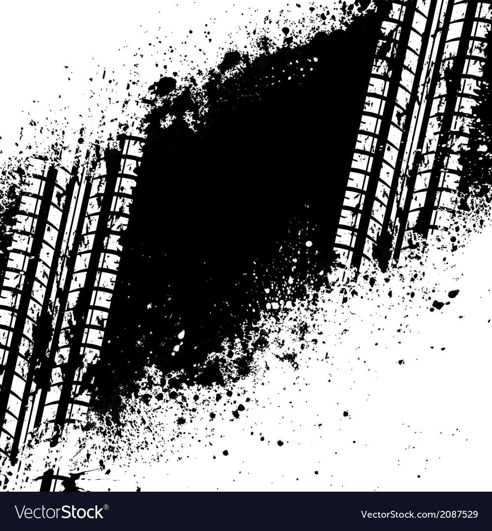 White tire track on black ink blots vector | Price: 1 Credit (USD $1)