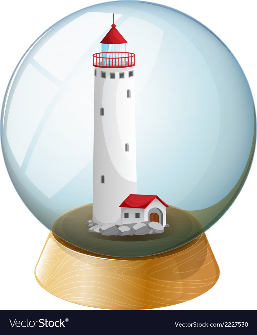 A crystal ball with a lighthouse inside vector | Price: 1 Credit (USD $1)
