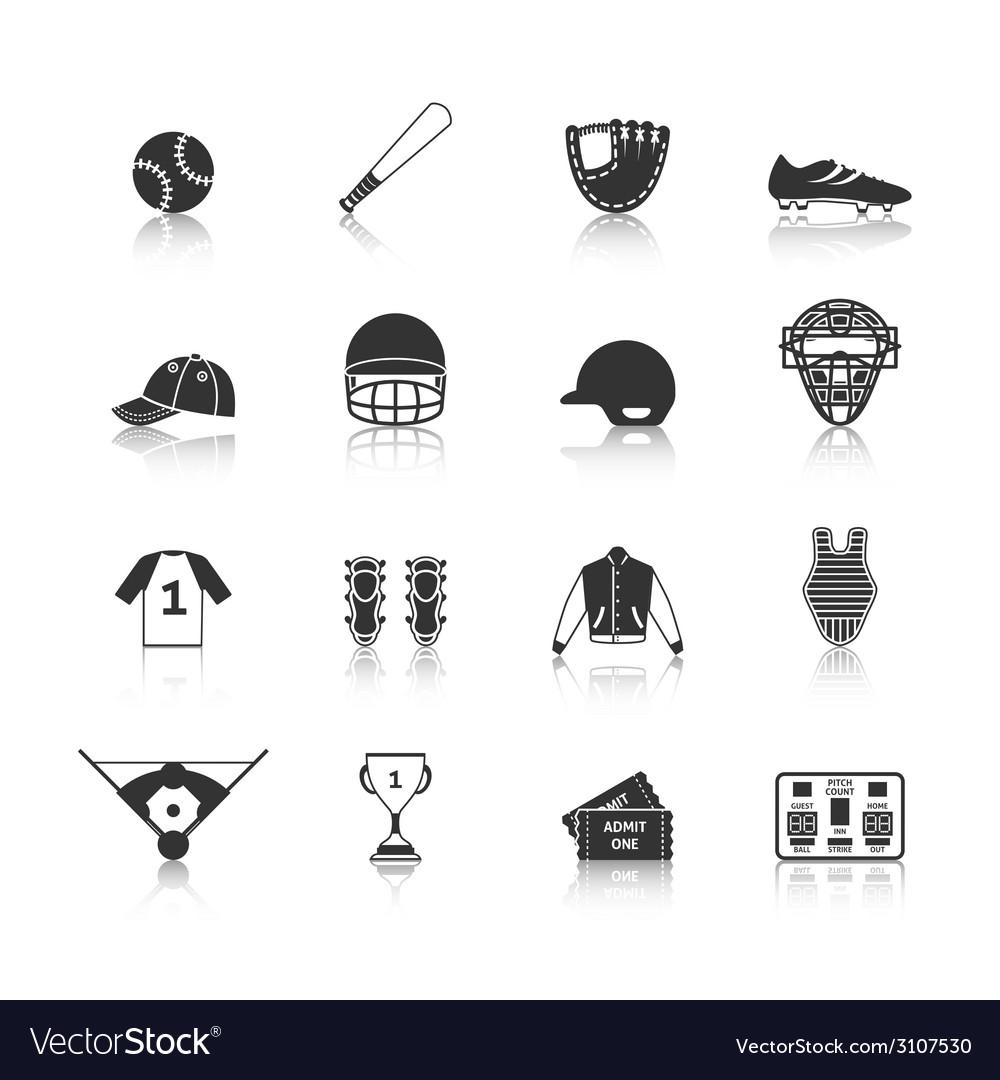 Baseball icons set black vector | Price: 1 Credit (USD $1)