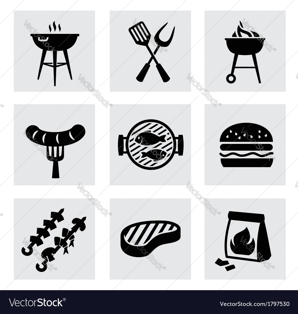 Black barbecue icons set on gray vector | Price: 1 Credit (USD $1)