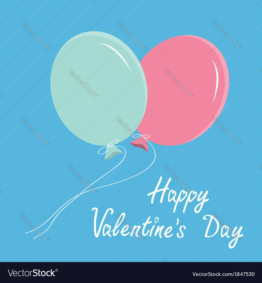 Blue and pink balloons happy valentines day vector | Price: 1 Credit (USD $1)