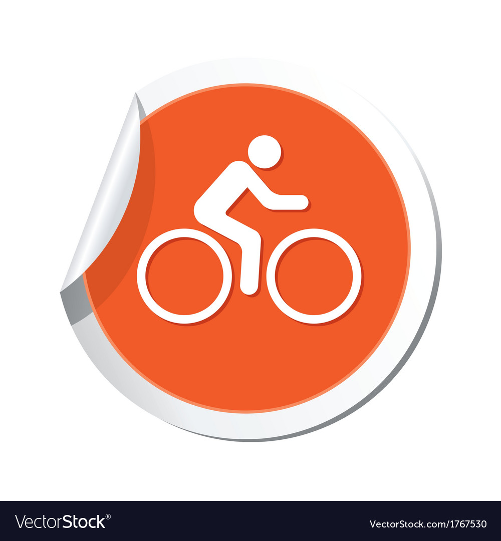 Cyclist simbol orange tag vector | Price: 1 Credit (USD $1)