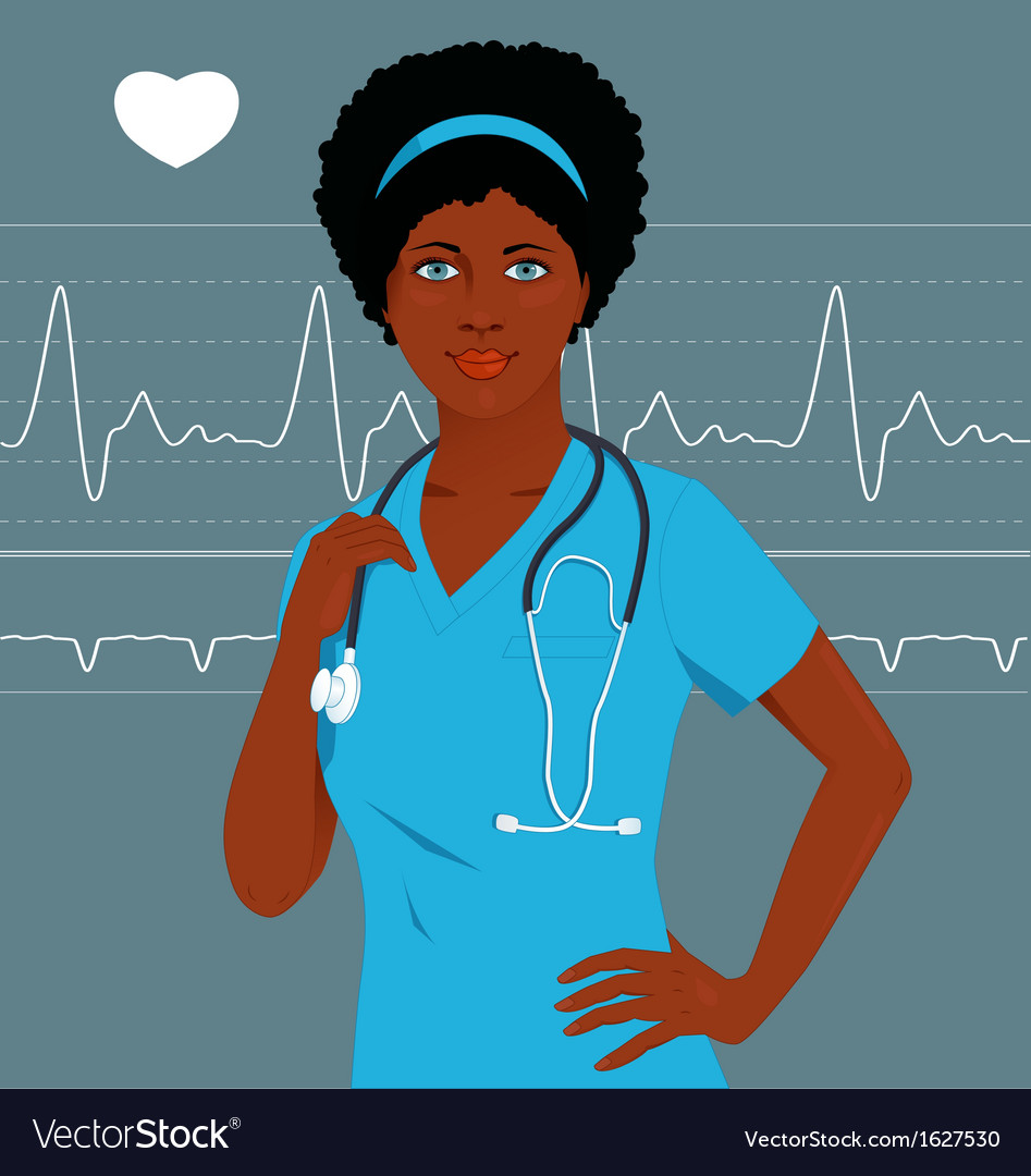 Doctor or nurse with a heart monitor vector | Price: 1 Credit (USD $1)