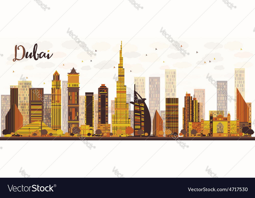 Dubai city skyline with golden skyscrapers vector | Price: 1 Credit (USD $1)