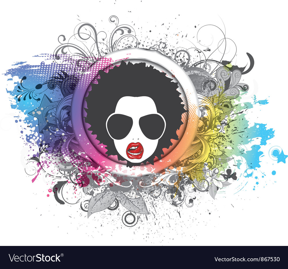 Funky face with floral and grunge vector | Price: 1 Credit (USD $1)
