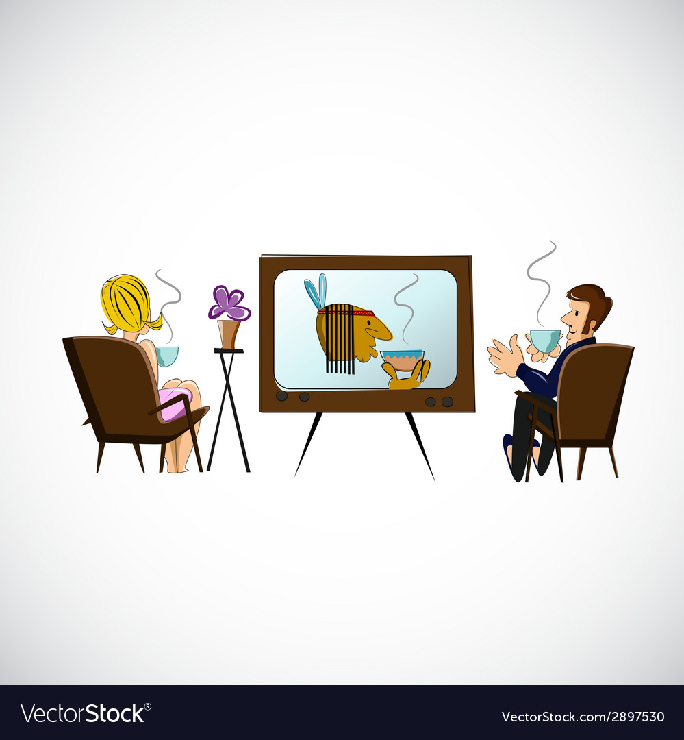 Husband and wife are watching tv sketch vector | Price: 1 Credit (USD $1)