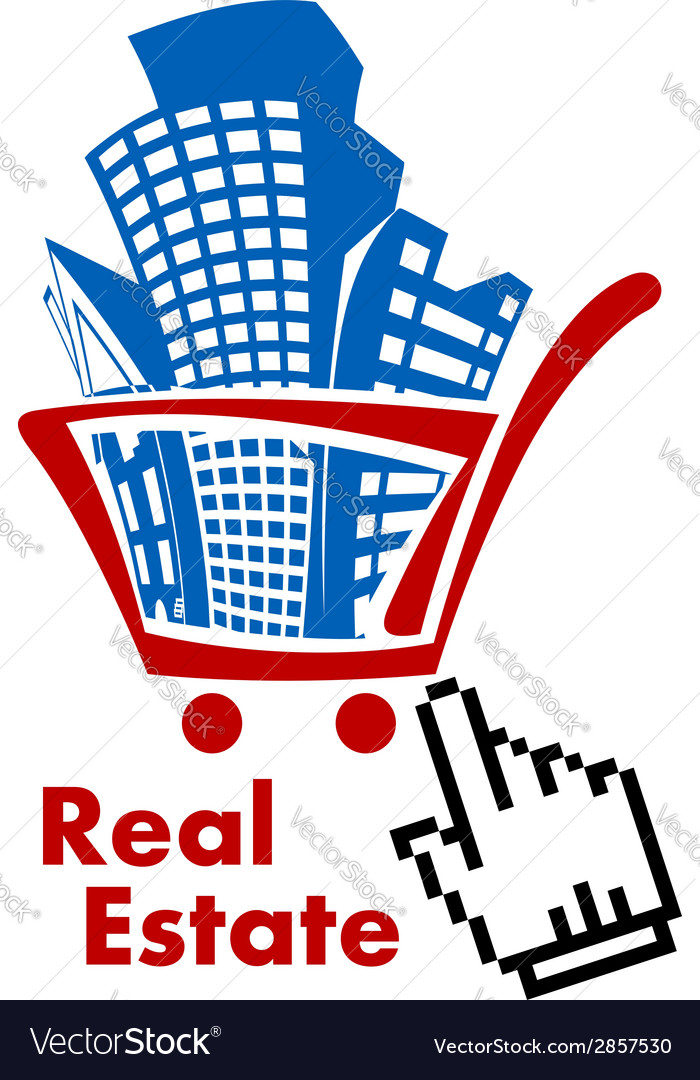 Real estate in shopping cart vector | Price: 1 Credit (USD $1)