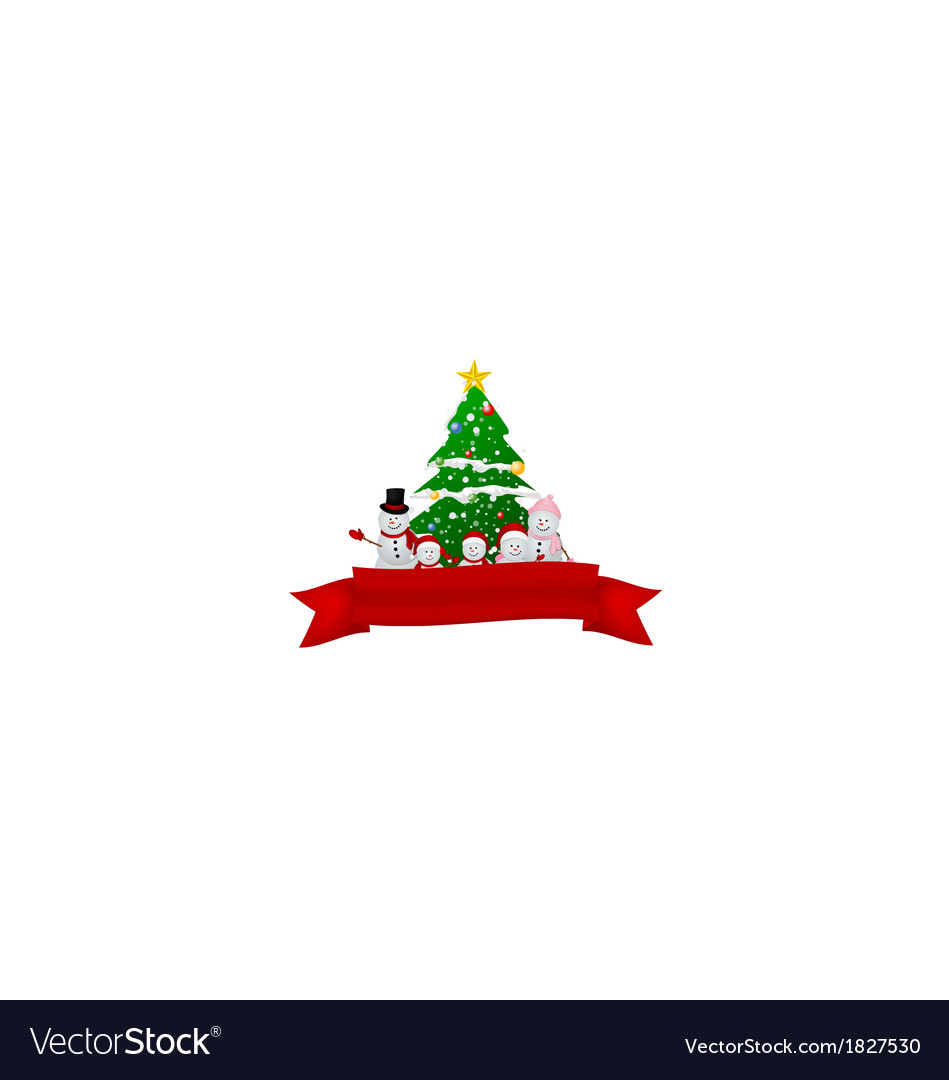 Santa claus reindeer and snowman with red ribbon vector | Price: 1 Credit (USD $1)