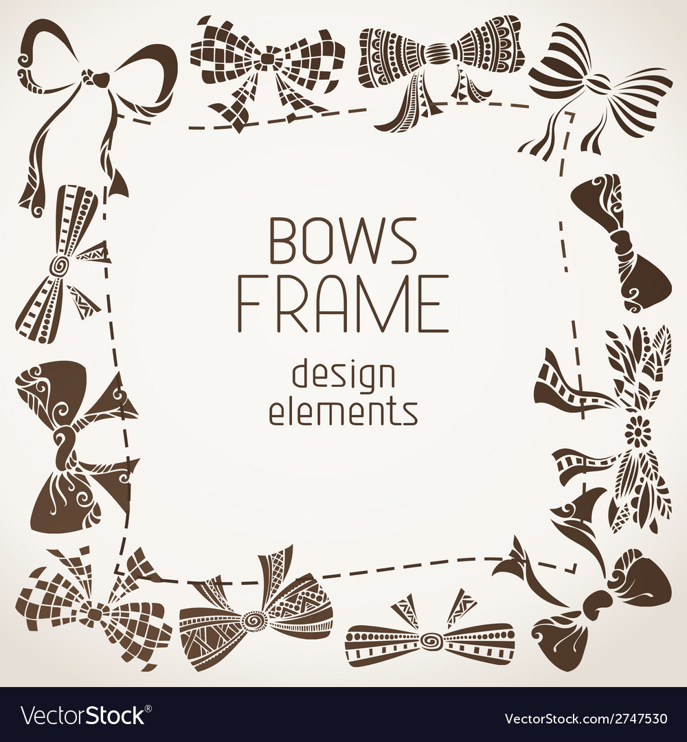 Sepia bows frame vector | Price: 1 Credit (USD $1)