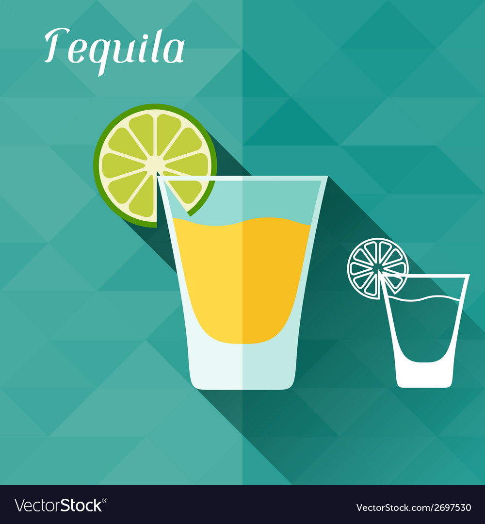 With glass of tequila in flat design style vector | Price: 1 Credit (USD $1)
