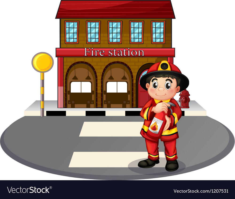 A fireman holding a fire extinguisher vector   Price: 1 Credit (USD $1)