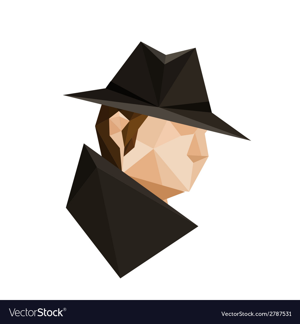 Abstract origami spy character vector | Price: 1 Credit (USD $1)