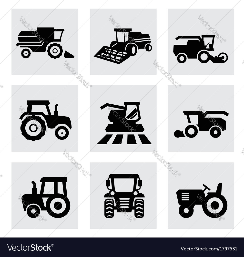 Black agricultural transport icons set vector | Price: 1 Credit (USD $1)