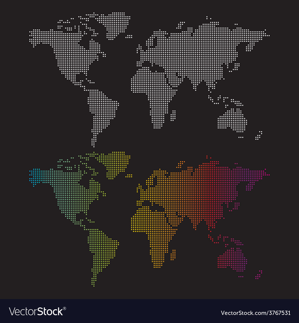 Dotted world maps vector | Price: 1 Credit (USD $1)