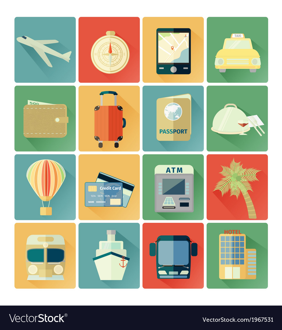 Flat icons travel vector | Price: 1 Credit (USD $1)