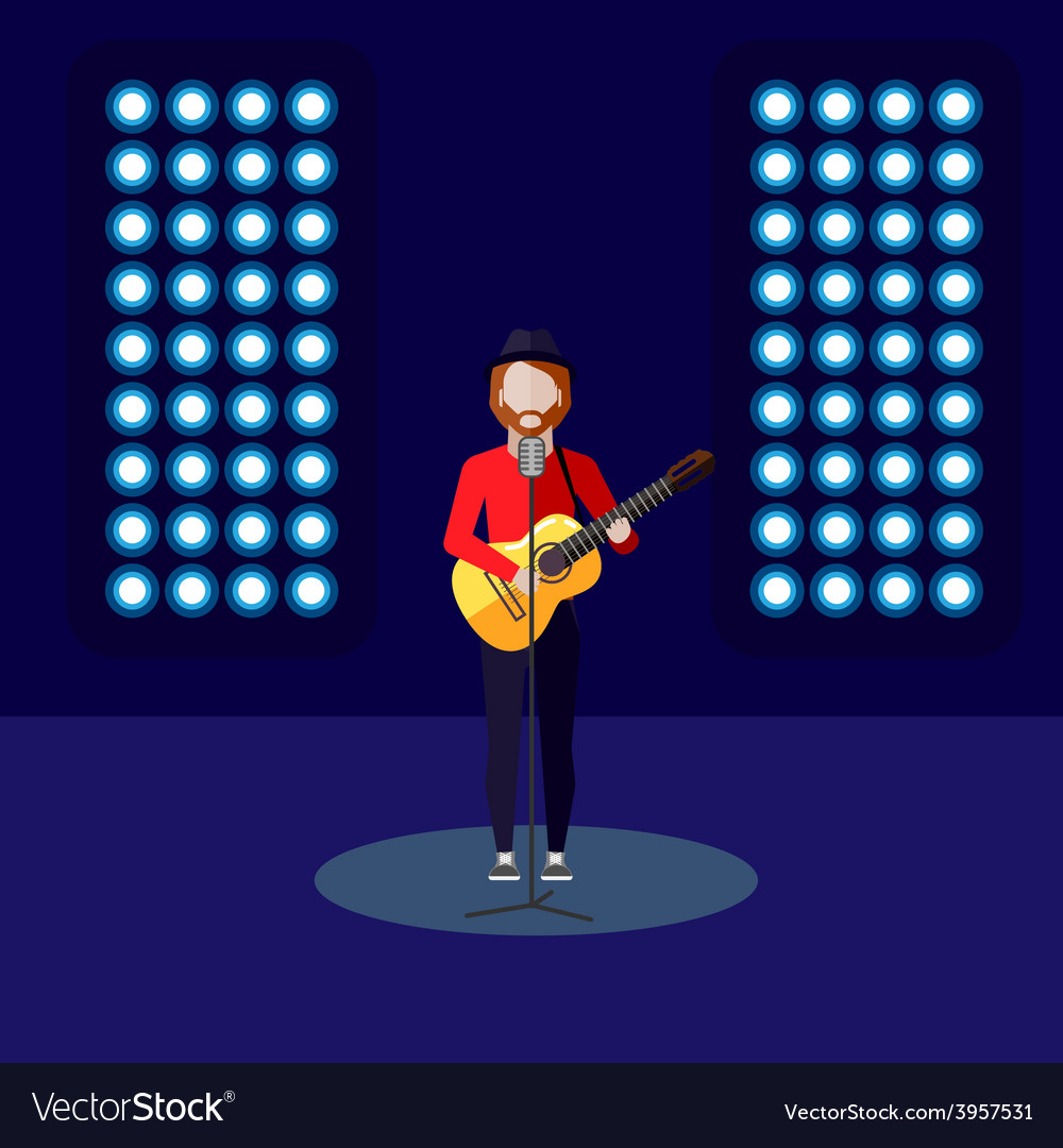 Flat of singer on stage music vector | Price: 1 Credit (USD $1)