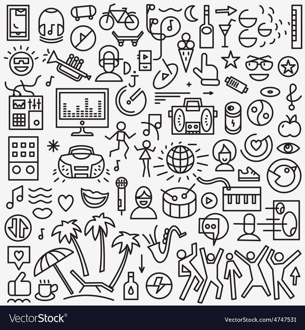 Music - set thin line icons vector | Price: 1 Credit (USD $1)