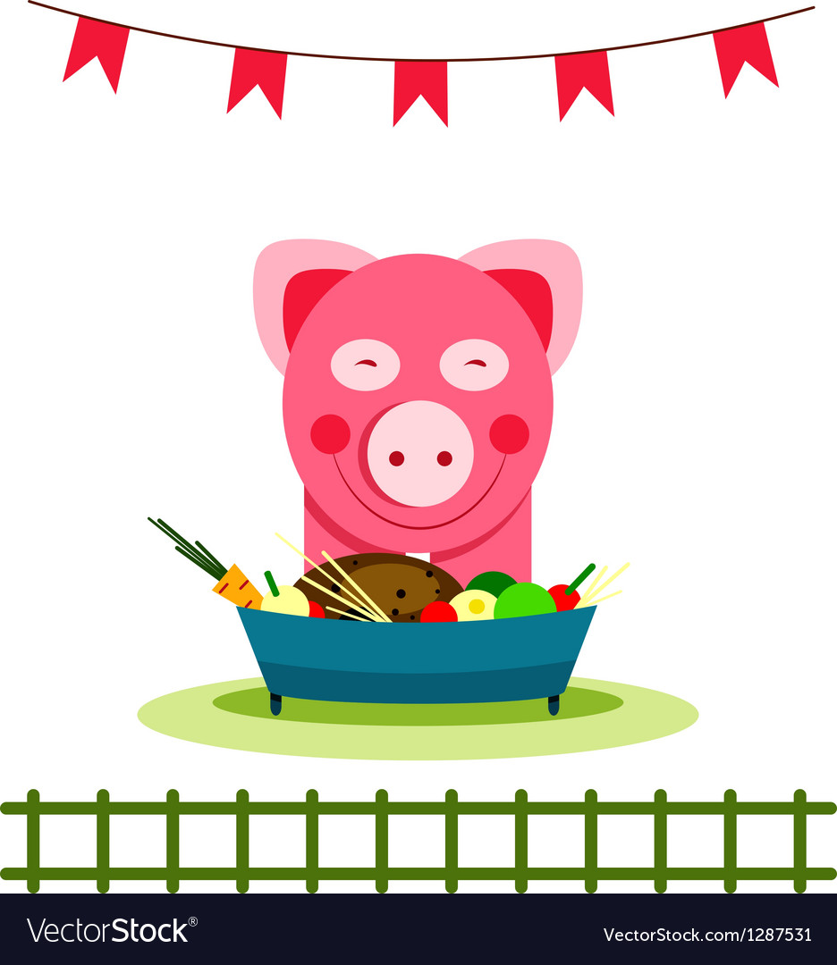 Pig eating food feast vector | Price: 1 Credit (USD $1)