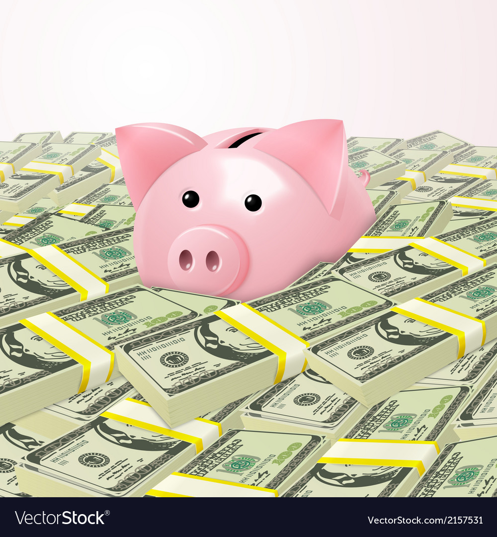 Piggybank in heap of money vector | Price: 1 Credit (USD $1)