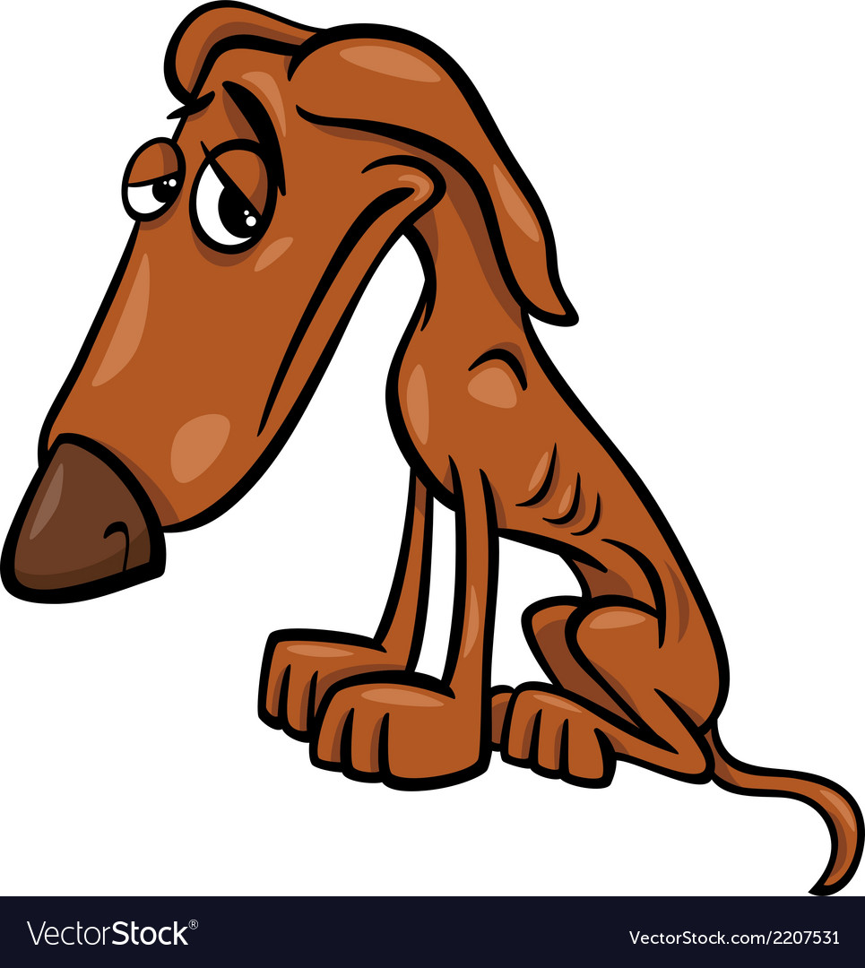 Poor hungry dog cartoon vector | Price: 1 Credit (USD $1)