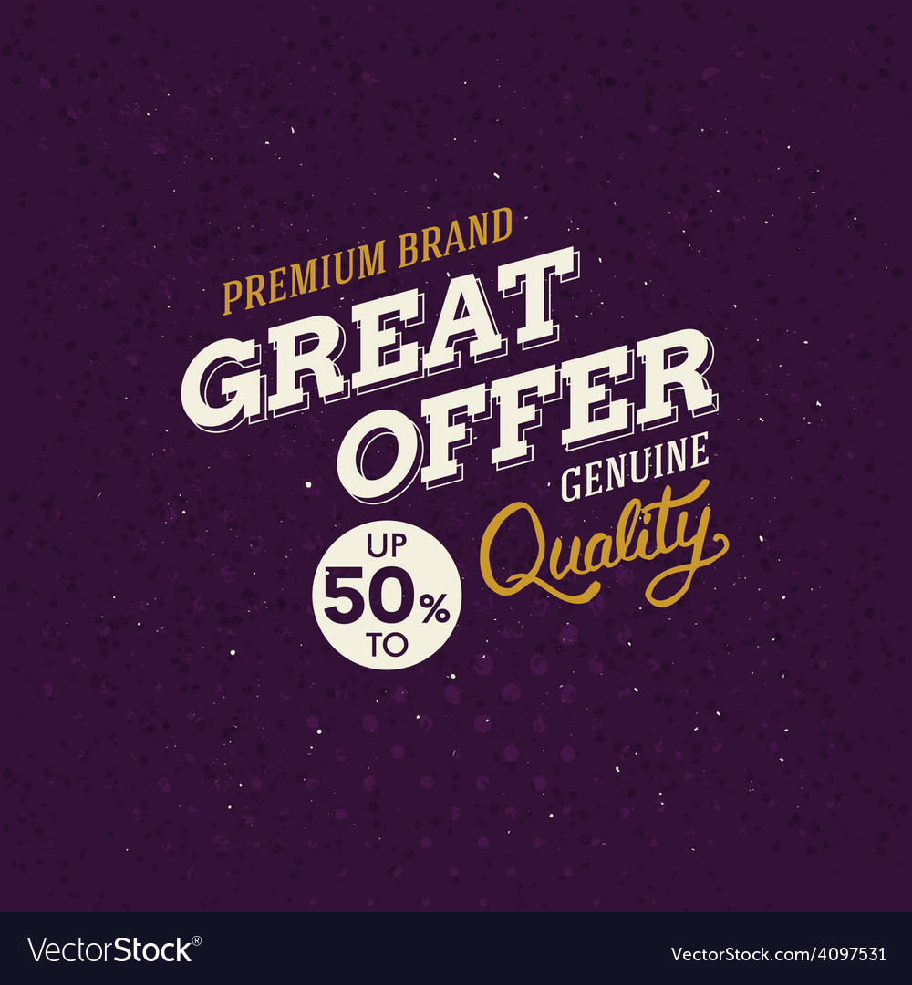 Promotion labe with text - great offer - in vector | Price: 1 Credit (USD $1)