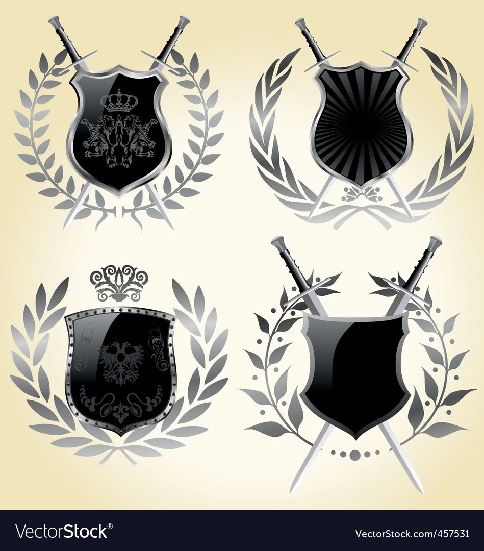 shields laurel wreaths vector | Price: 1 Credit (USD $1)