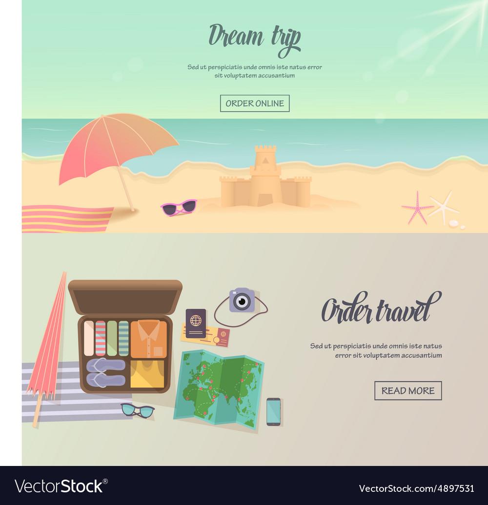 Summer holidays beach labels umbrella and castle vector