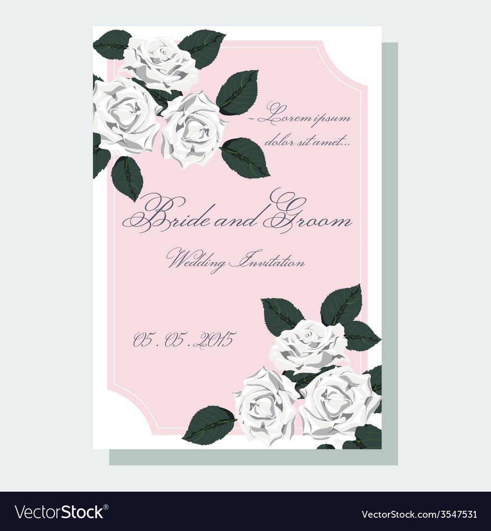 White roses wedding invitation vector | Price: 1 Credit (USD $1)
