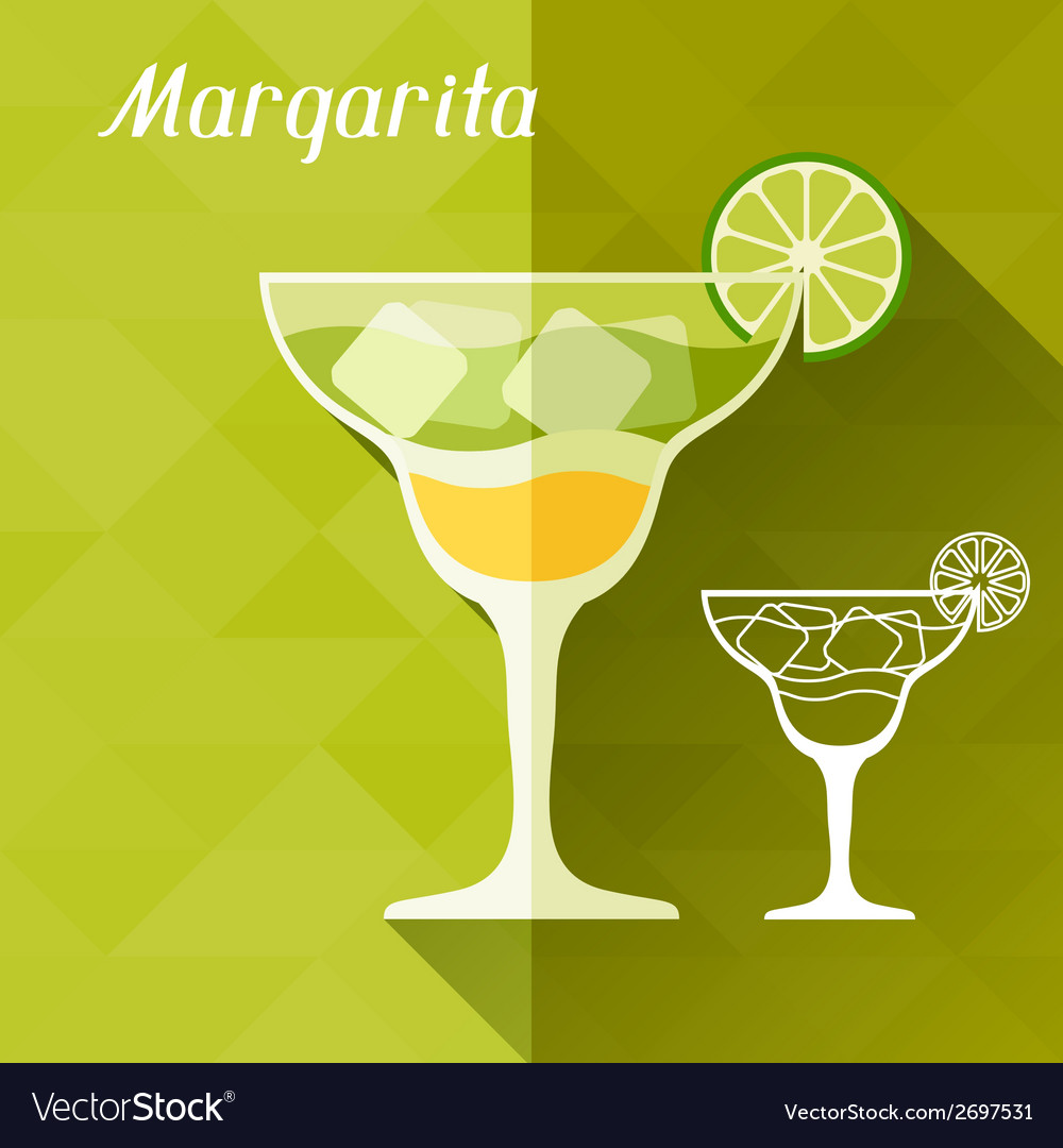 With glass of margarita in flat design style vector | Price: 1 Credit (USD $1)