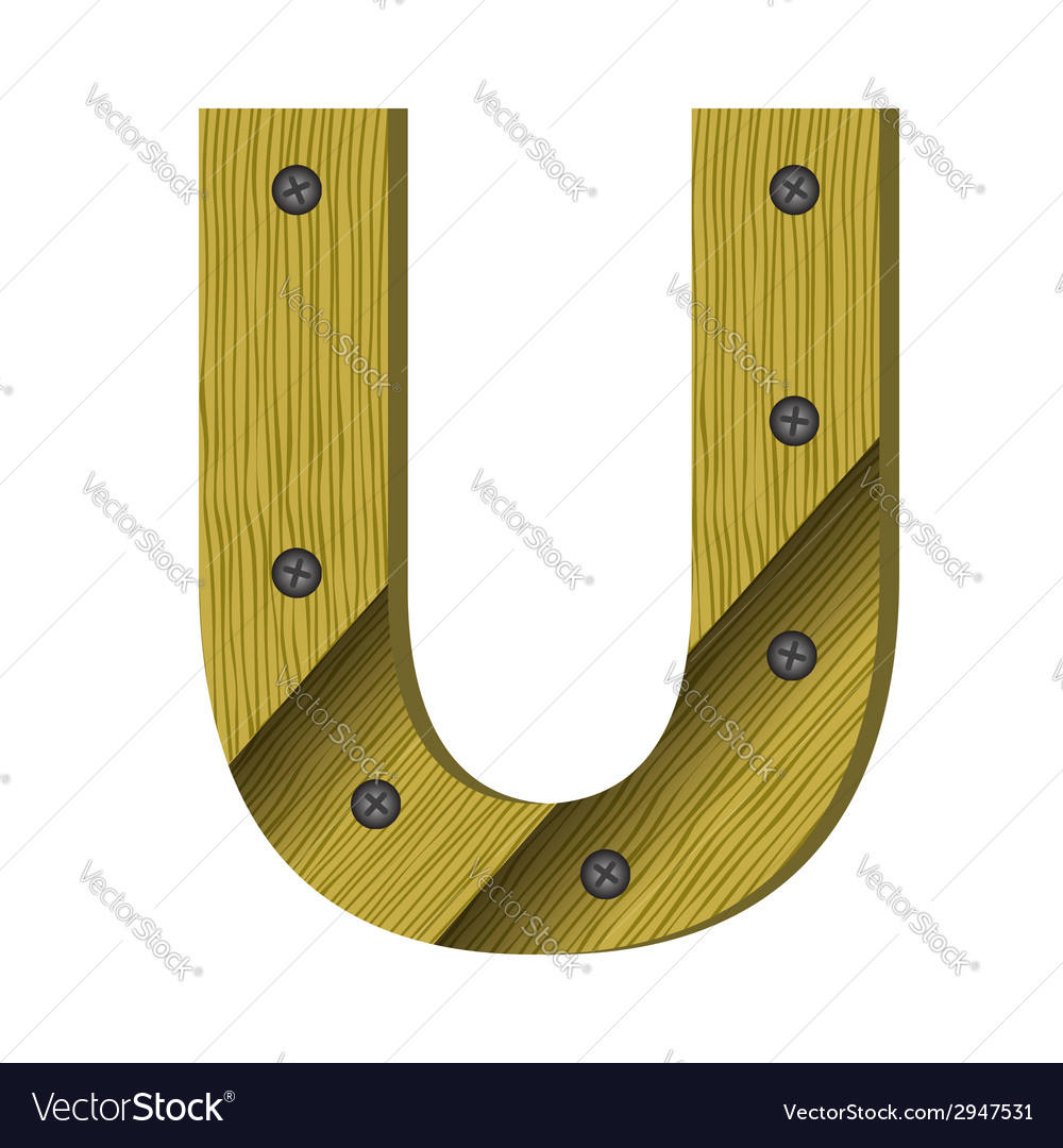 Wood letter u vector | Price: 1 Credit (USD $1)