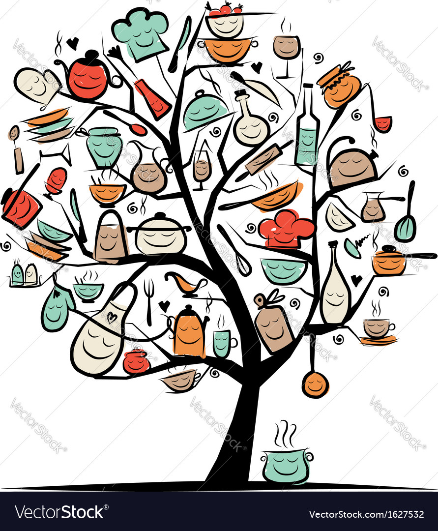 Art tree with kitchen utensils sketch drawing for vector | Price: 1 Credit (USD $1)