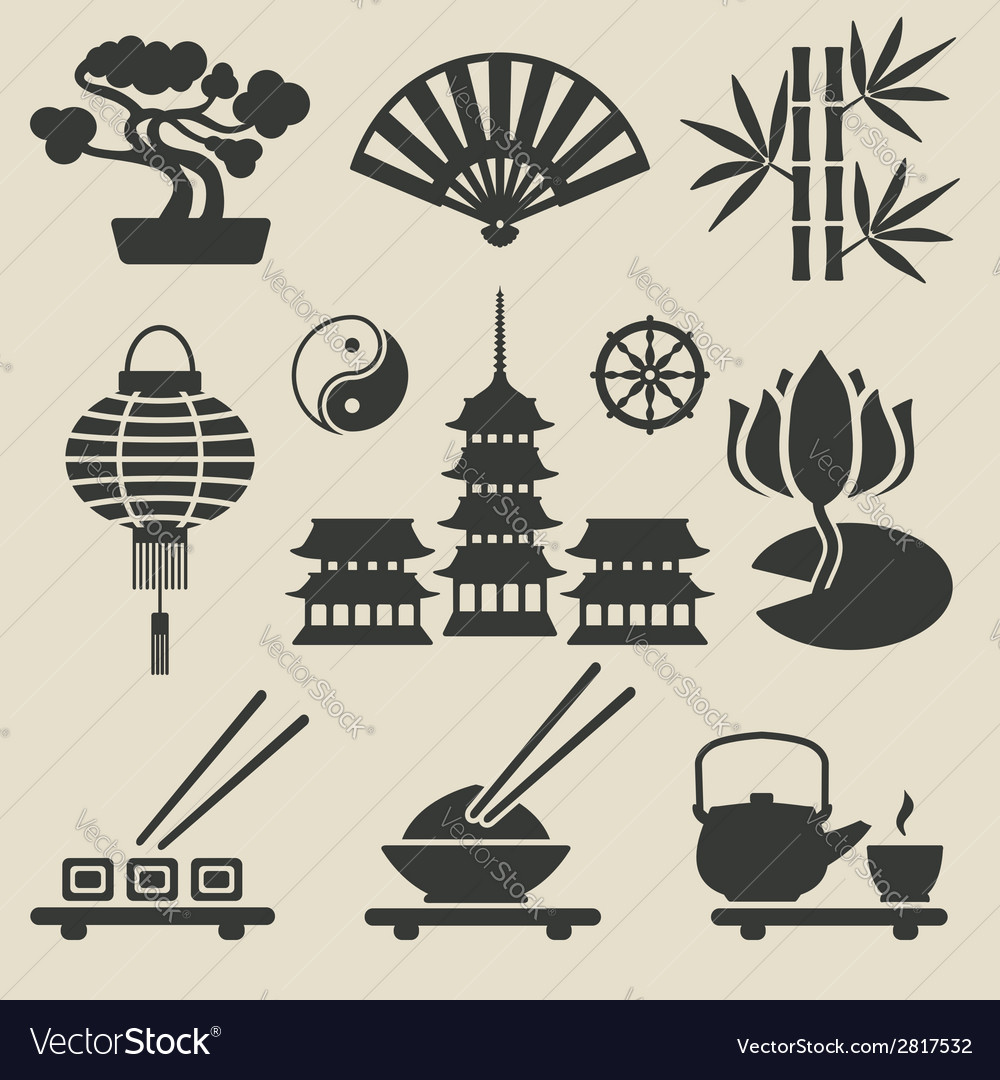 Asian icons set vector | Price: 1 Credit (USD $1)