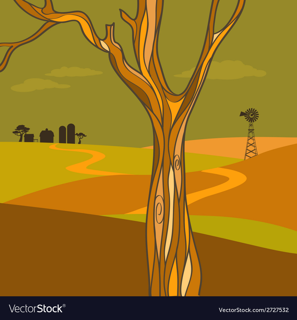 Countryside at fall vector | Price: 1 Credit (USD $1)