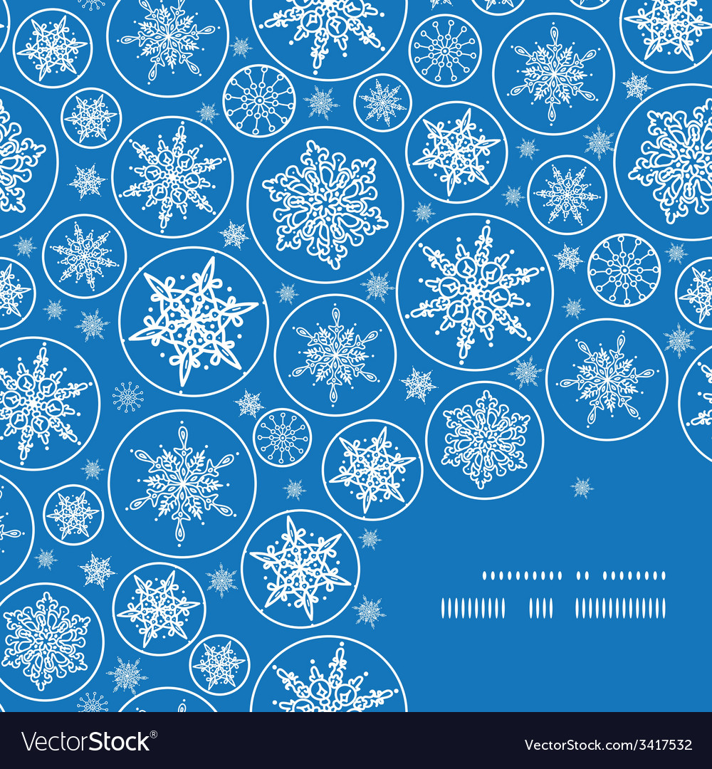 Falling snowflakes frame corner pattern background vector | Price: 1 Credit (USD $1)