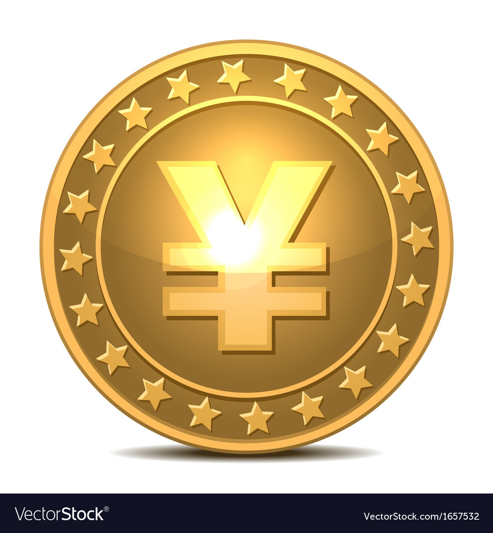 Gold coin with yen sign vector | Price: 1 Credit (USD $1)