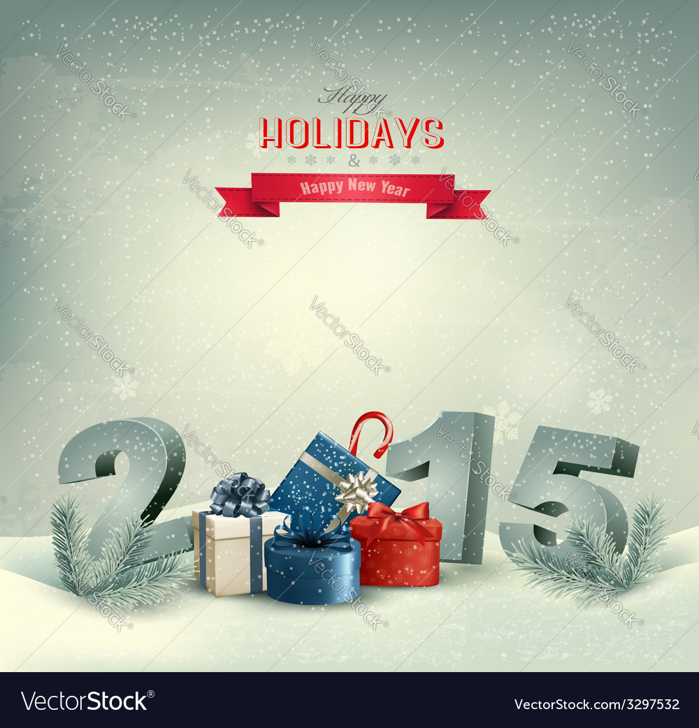 Holiday background with presents and 2015 vector   Price: 5 Credit (USD $5)