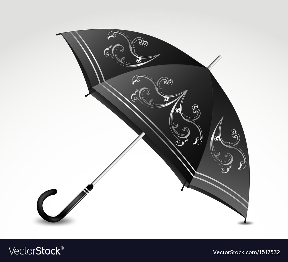 Ornamental black umbrella vector | Price: 1 Credit (USD $1)