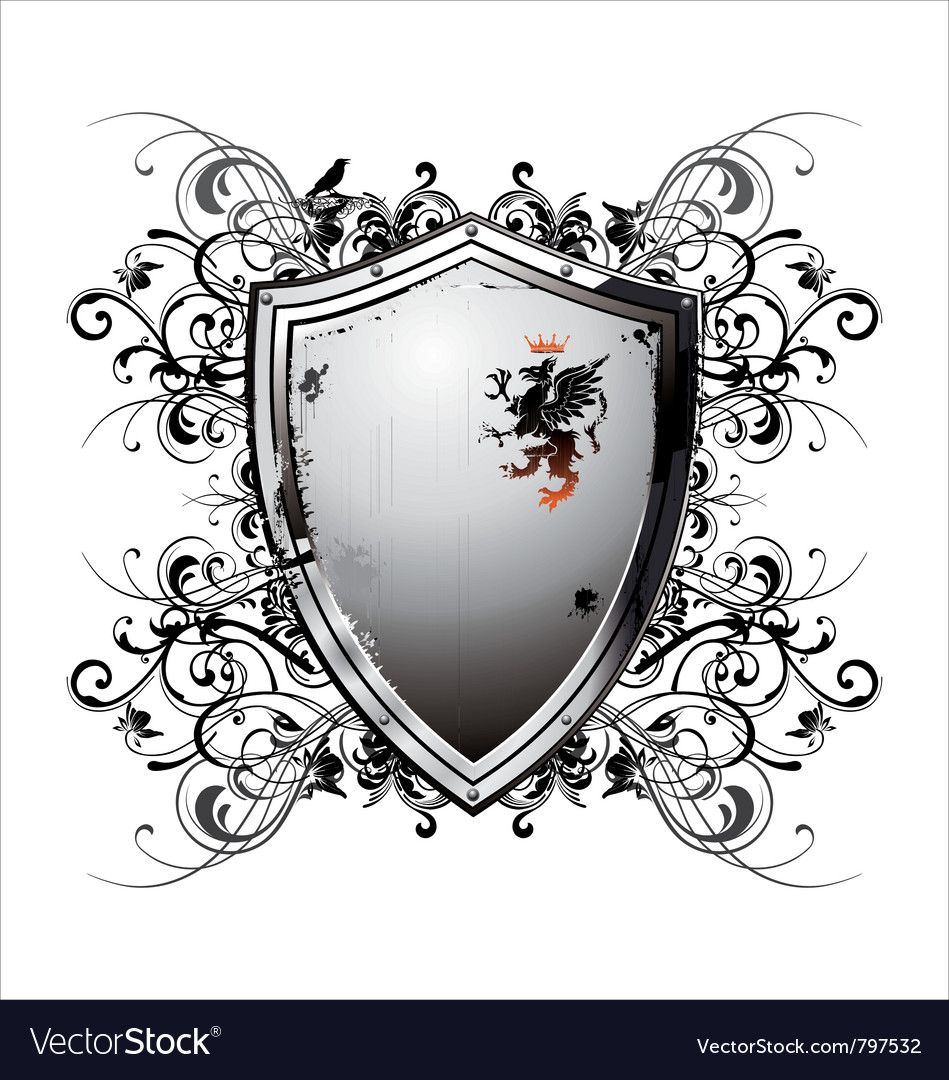 Ornate heraldic shield vector | Price: 1 Credit (USD $1)
