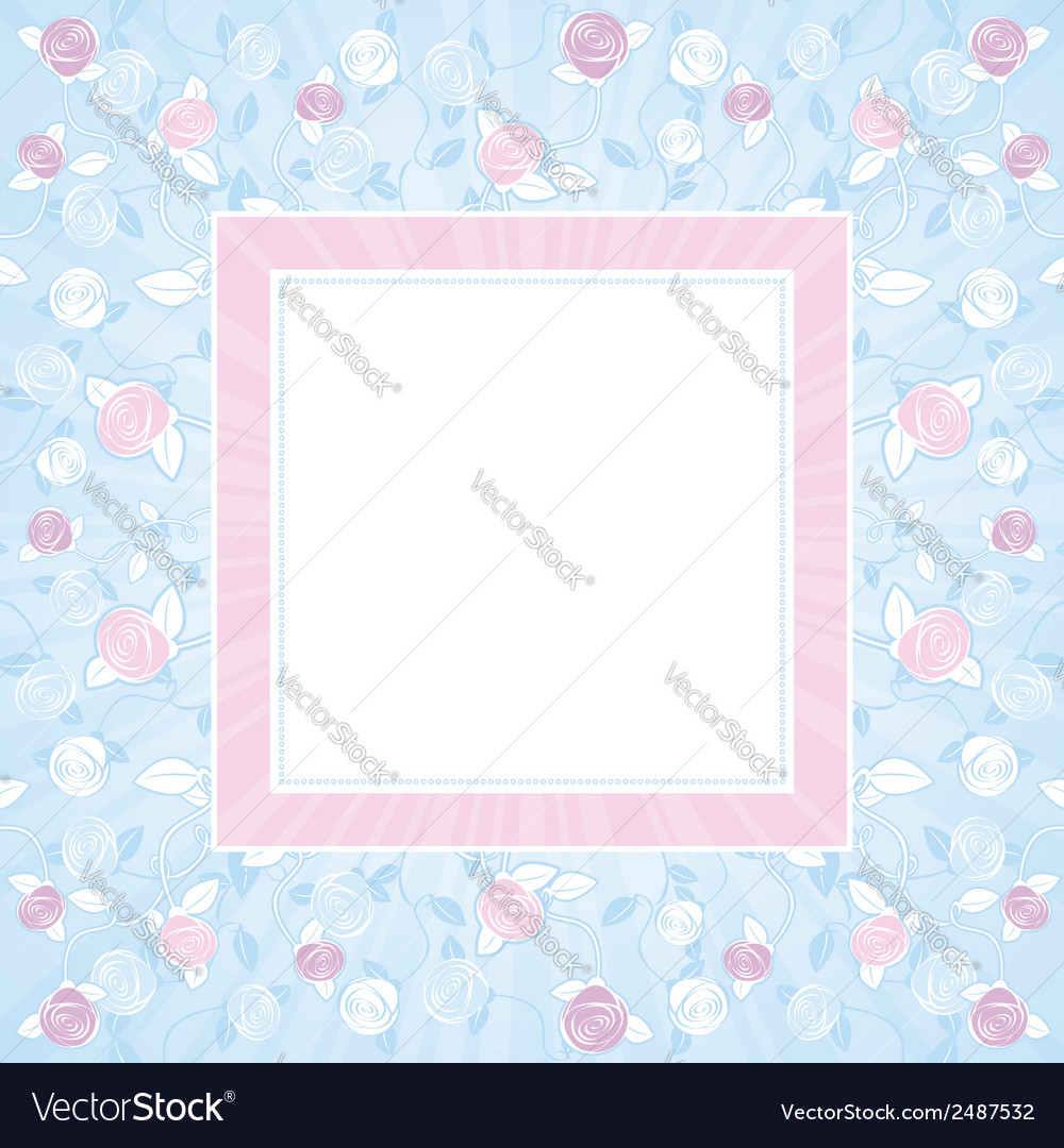 Pink and purple roses on blue square background vector | Price: 1 Credit (USD $1)