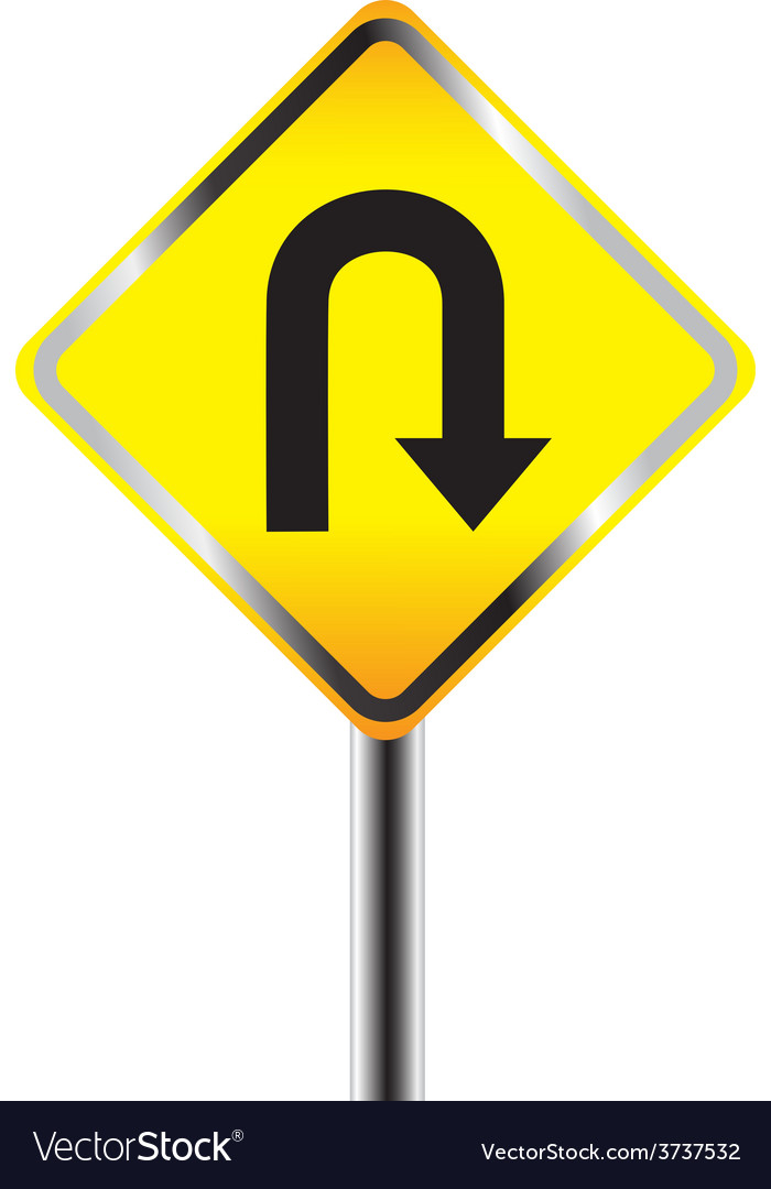 U turn road sign yellow road sign vector | Price: 1 Credit (USD $1)