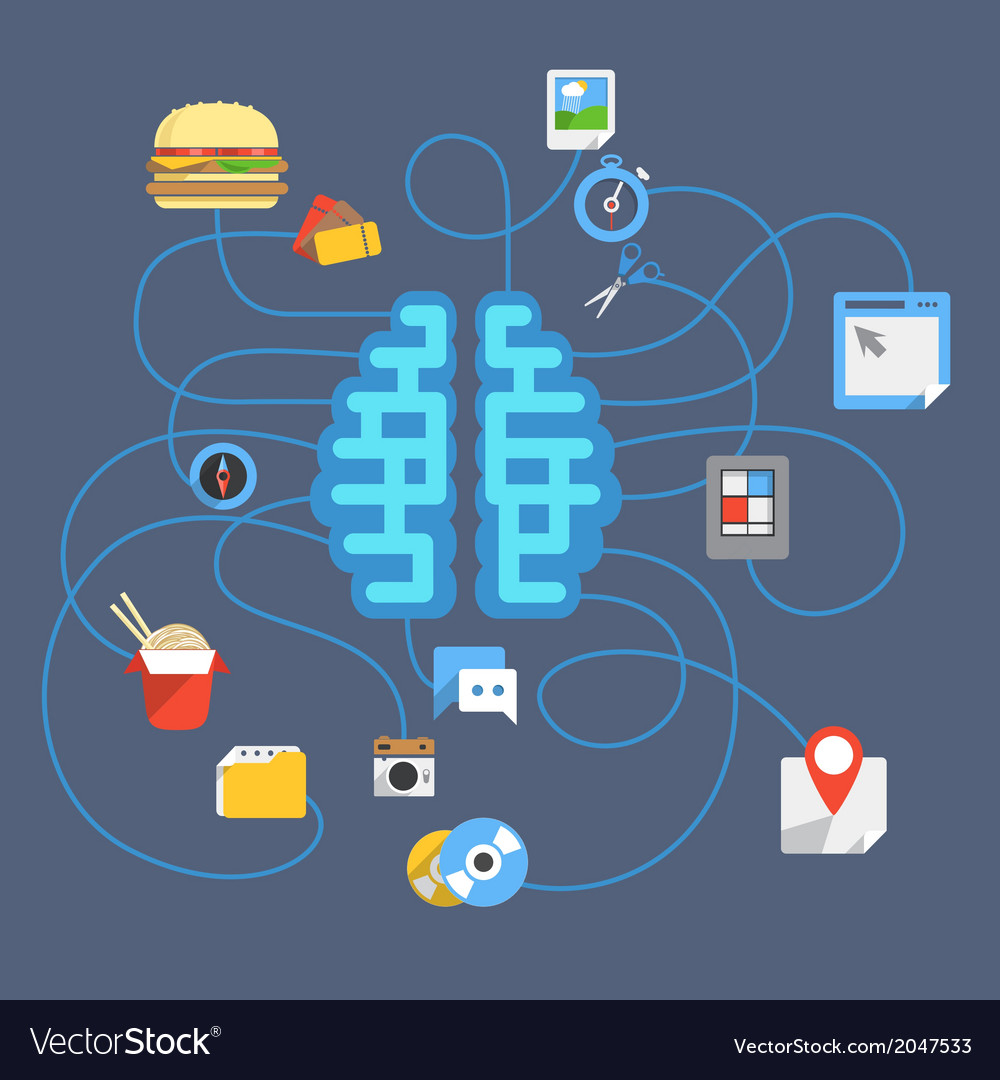 Abstract scheme with brain and different icons vector | Price: 1 Credit (USD $1)