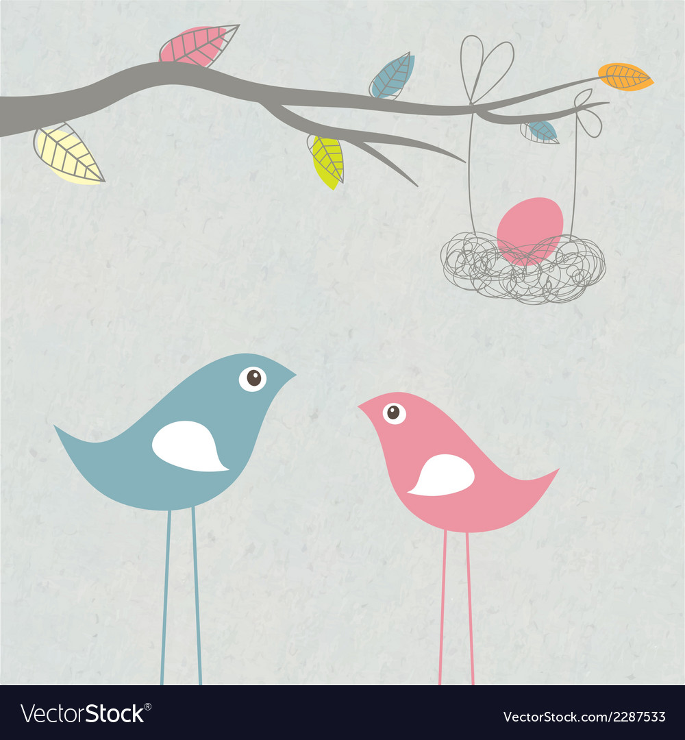 Baby arriving card with birds family and egg in vector | Price: 1 Credit (USD $1)